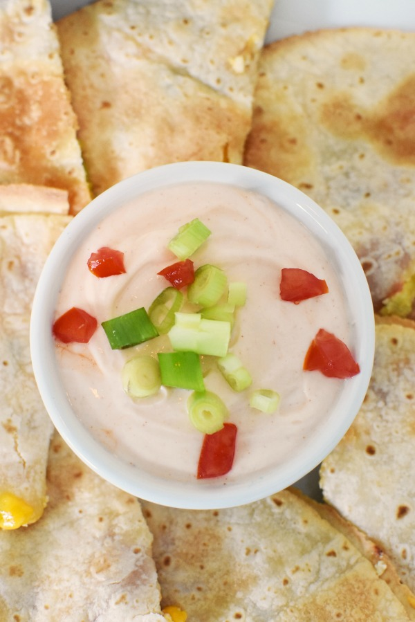 Chicken Quesadillas with spicy greek yogurt