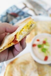 Cream cheese chicken quesadilla piece1