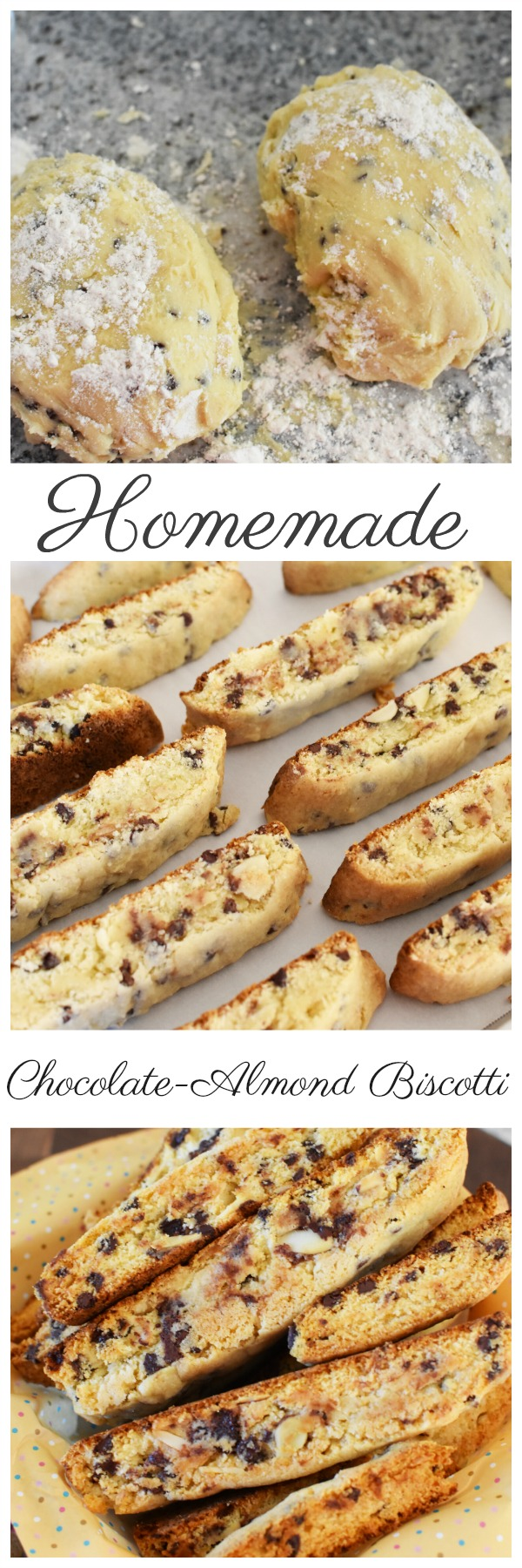 Homemade Chocolate Chip Almond Biscotti Recipe. A delicious, homemade biscotti recipe that has all the mouthwatering flavors of almond and chocolate which pair so perfectly together.