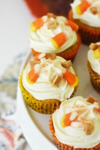 Homemade Pumpkin Cupcakes with Vanilla Frosting