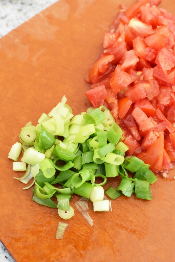 diced green onion and tomato