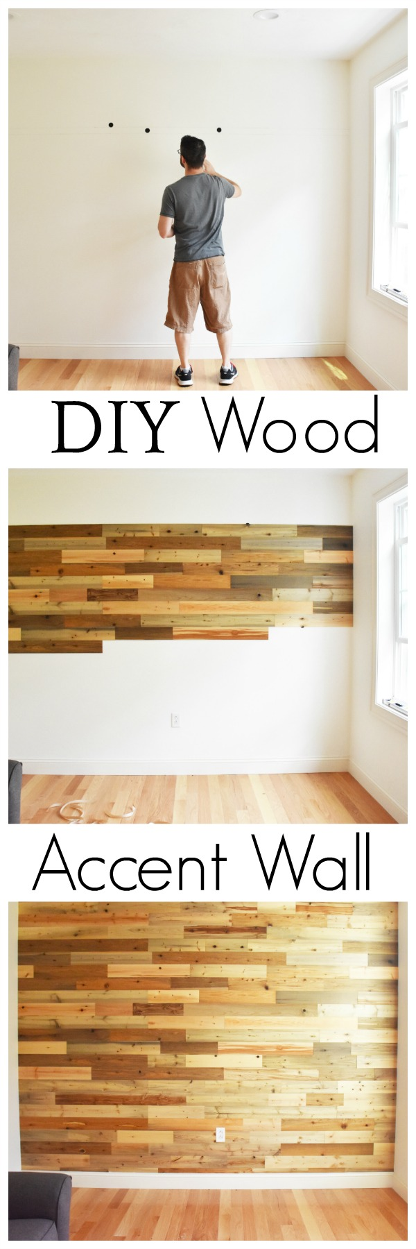 DIY Wood Accent Wall using reclaimed river wood planks from Timberchic! Create a warm and unique environment in your home with Timberchic Reclaimed River Wood Boards! AD