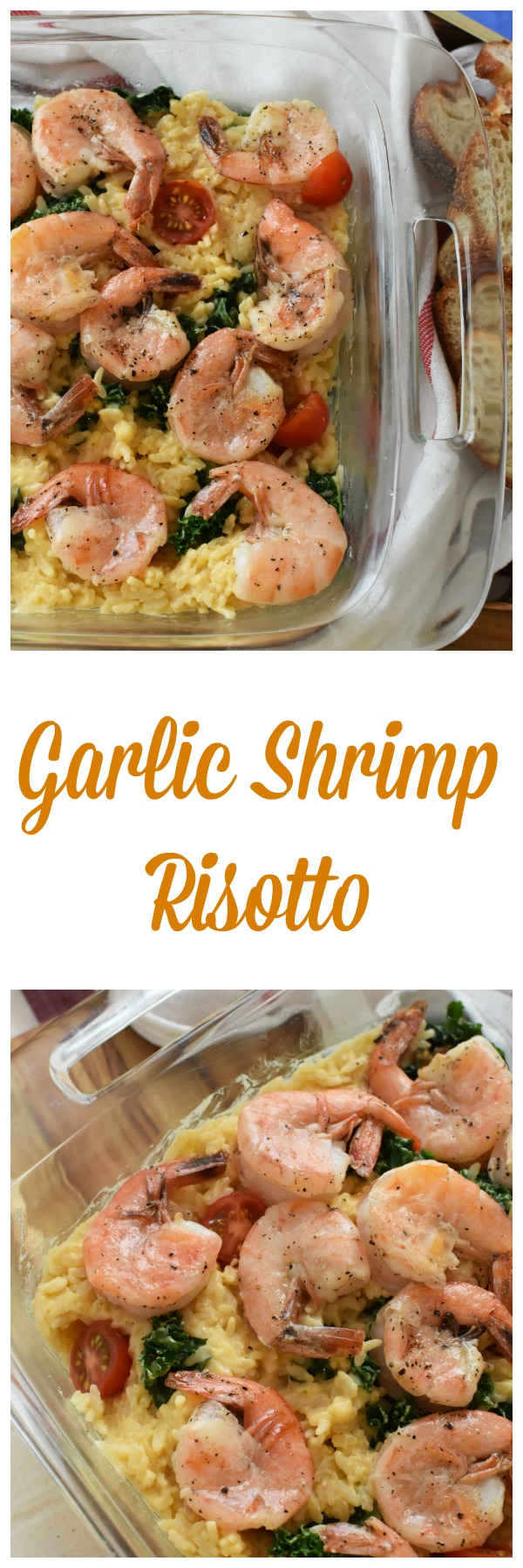 Garlic Shrimp Risotto- An easy way to prepare a gourmet meal. This cheesy risotto features kale, cherry tomatoes, and pan-fried garlic shrimp.