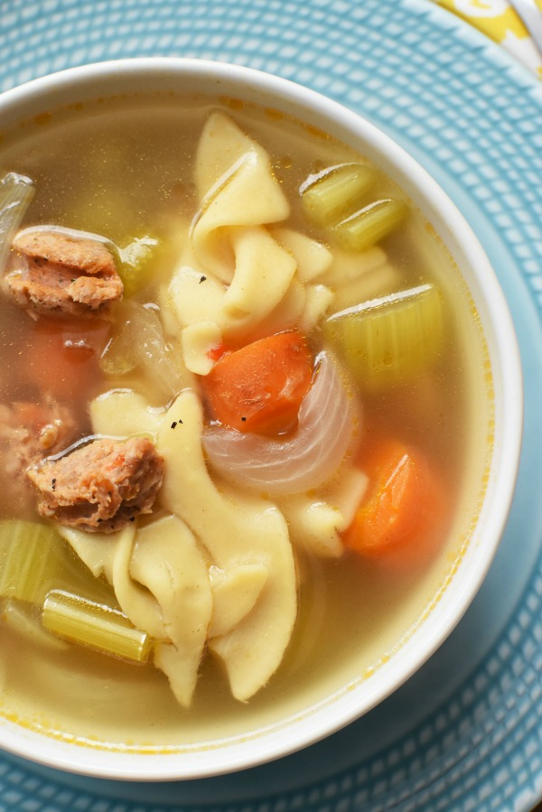 Sausage noodle soup1