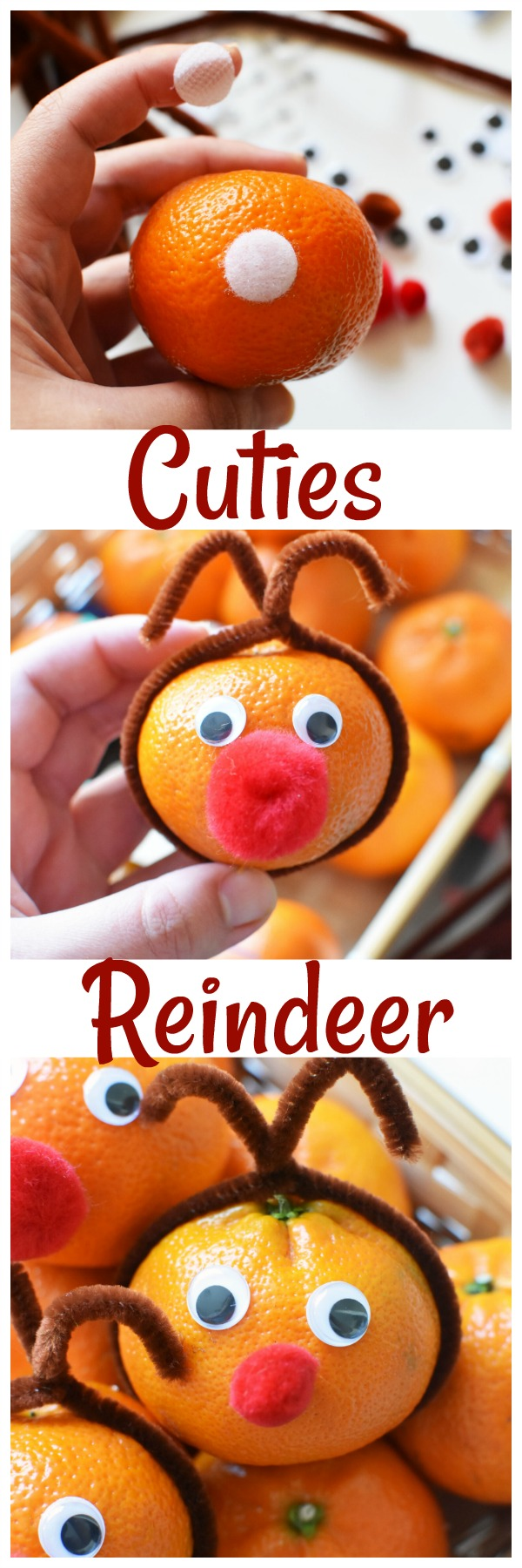 Reindeer Mandarin Oranges Craft +Brighten Someone's Day with Cuties. See how you can brighten someones day with Cuties. Plus, get what you need to make this adorable Cuties Reindeer Craft.