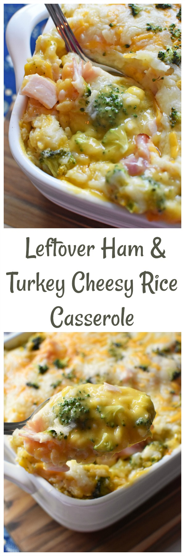 Leftover Ham & Turkey Cheesy Rice Casserole- A delicious recipe that is perfect for using leftover Thanksgiving or Holiday ham or turkey. Lots of cheese and plenty of flavor!