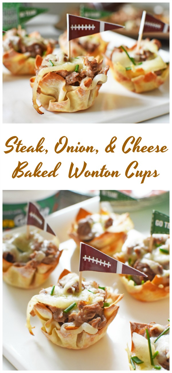 Steak, Onion, and Cheese Wonton Cups-