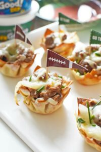 Steak, Onion, & Cheese Baked Wonton Cups