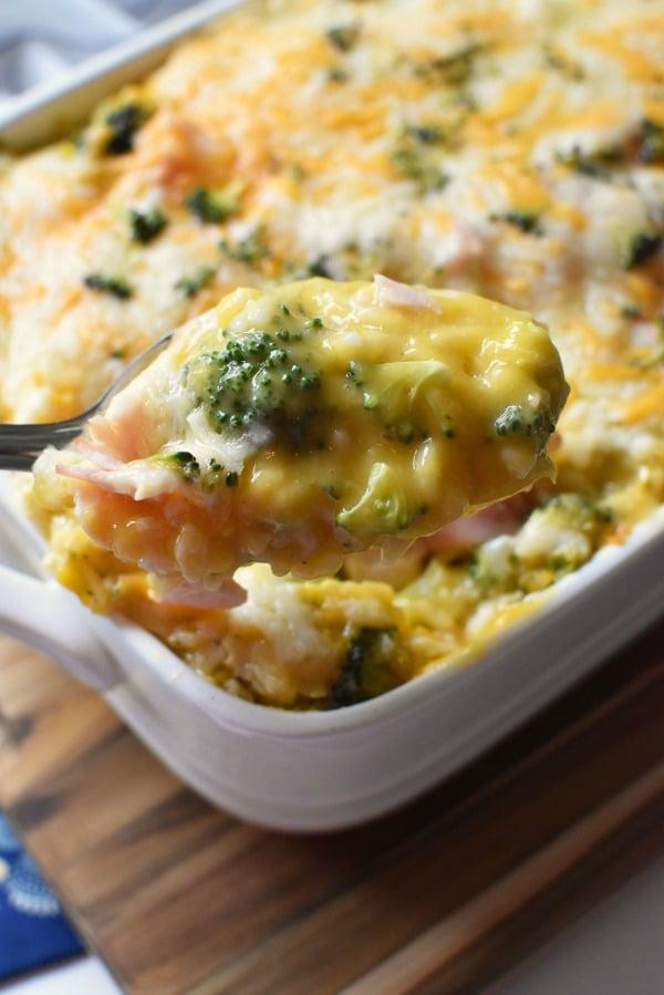cheesy rice, ham, and broccoli casserole1