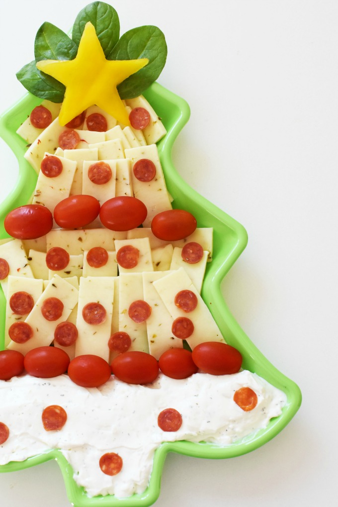 Christmas Tree Dip and Cheese Platter Appetizer1