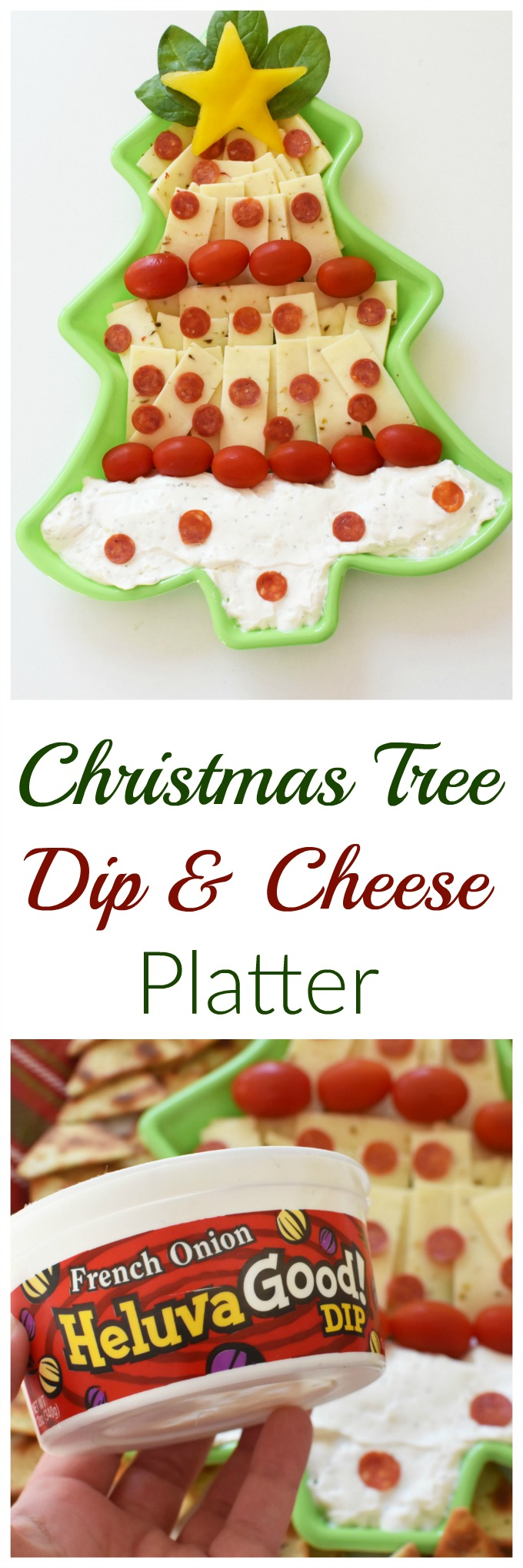 Christmas Tree Dip & Cheese Platter - A fun and easy way to entertain, this edible Christmas Tree platter features cheese, dip, veggies, and can be assembled in under 15 minutes!#ChipsDipsandTips
