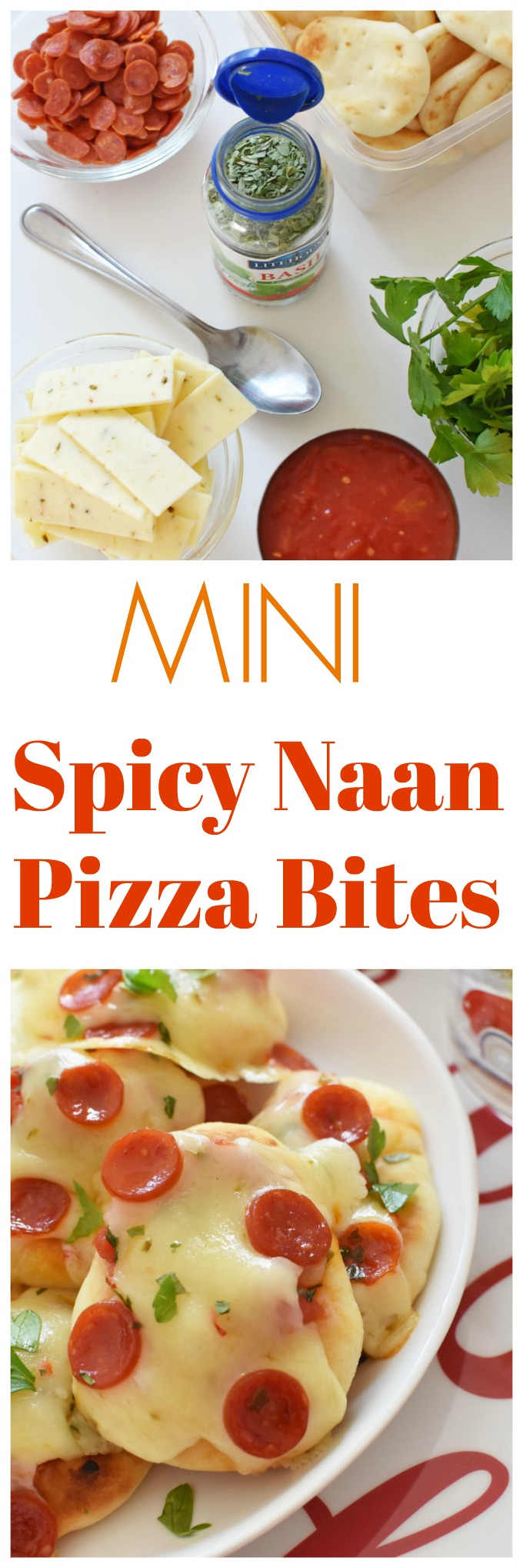 Mini Spicy Naan Pizza Bites. These little bit-sized naan are topped with Hunt's Diced tomatoes, pepperjack cheese, herbs, and pepperoni. Come see how they bake up to perfection and get the printable recipe!