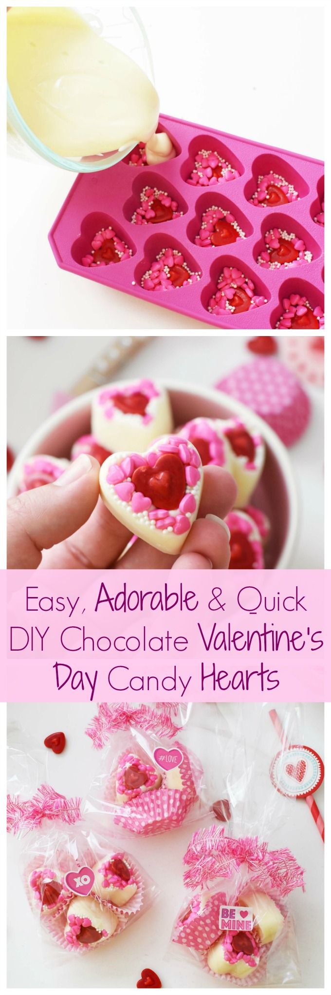 Easy, Adorable, & Quick DIY White Chocolate Valentine\'s Day Candy Hearts