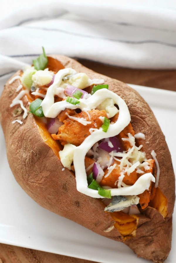 The Best Baked Sweet Potato with Buffalo Chicken Sausage
