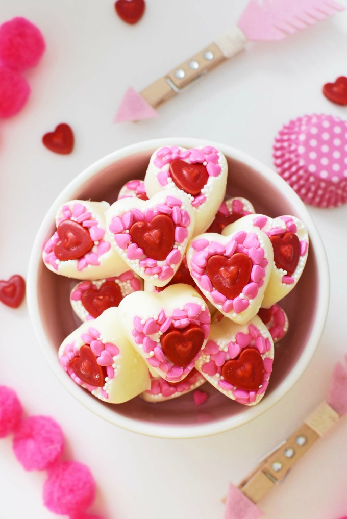 adorable, & quick diy white chocolate valentine's day candy hearts, Ideas