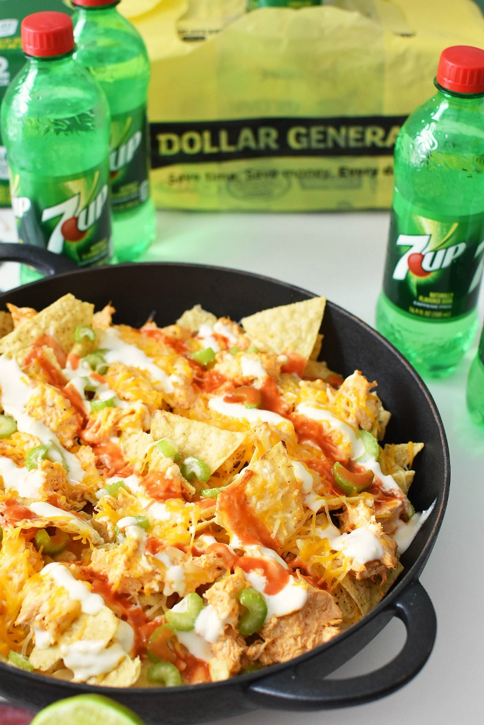 7UP and Buffalo Chicken Nachos1