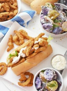Clam Strip Rolls with potato salad