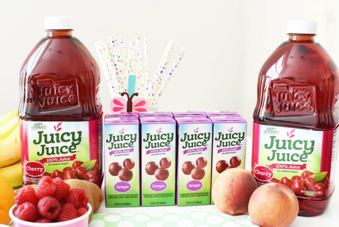 Juicy Juice Cherry Juice bottles and Grape Juice Boxes