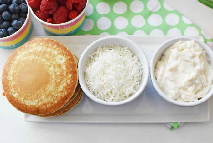pancakes, raspberry, and coconut
