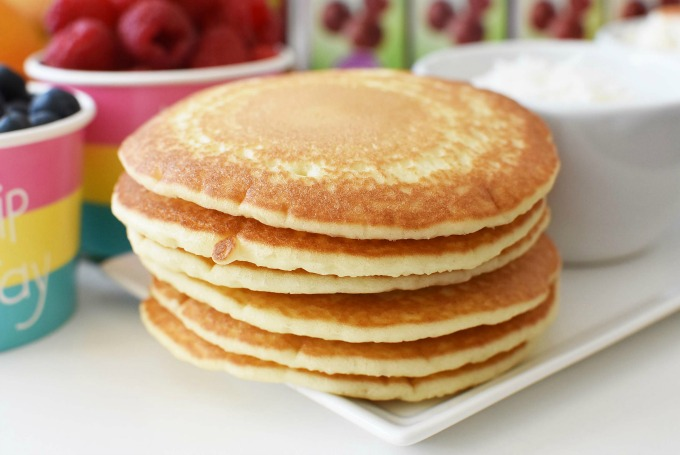 Pancakes stack with fruit1