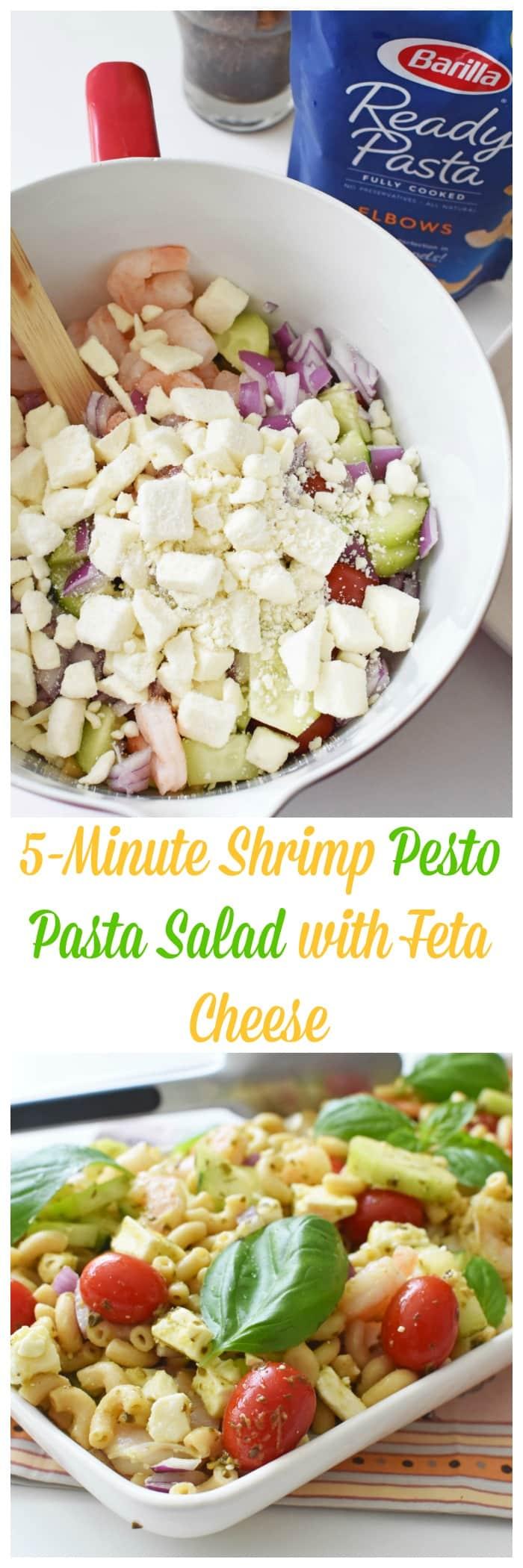 Shrimp Pesto Pasta Salad with Feta Cheese
