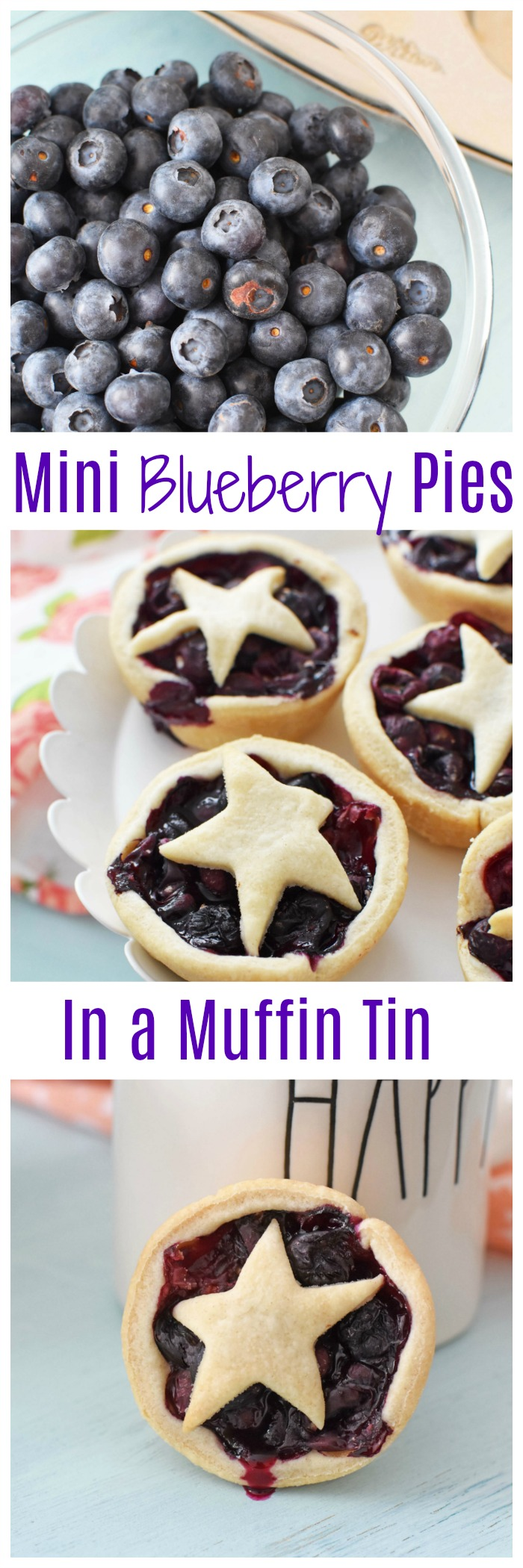 Mini Blueberry Pies Made in a Muffin Tin-These mini blueberry pies feature a homemade lard crust and are the perfect size for parties and snacking! The sweet flavor of the warm berries pair nicely with this delicious and easy lard pie crust.