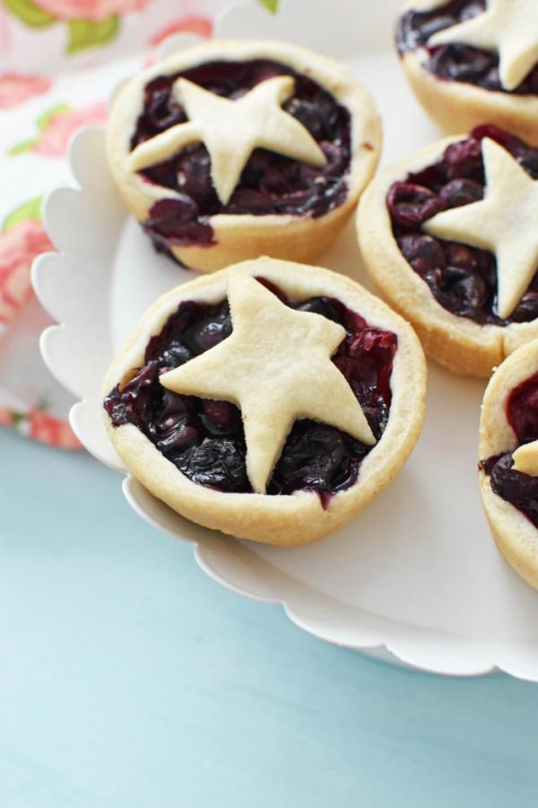 Muffin tin blueberry pies
