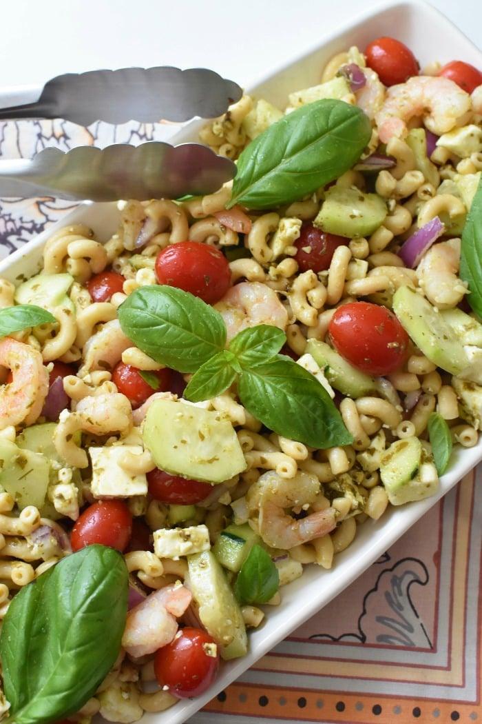 Pesto and Basil Shrimp Pasta Salad 1