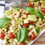Shrimp Pesto Pasta Salad in serving tray