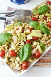 5-Minute Tasty Shrimp Pesto Pasta Salad with Feta Cheese