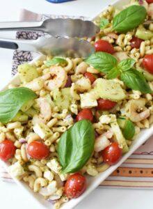 Shrimp Pesto Pasta Salad in serving tray