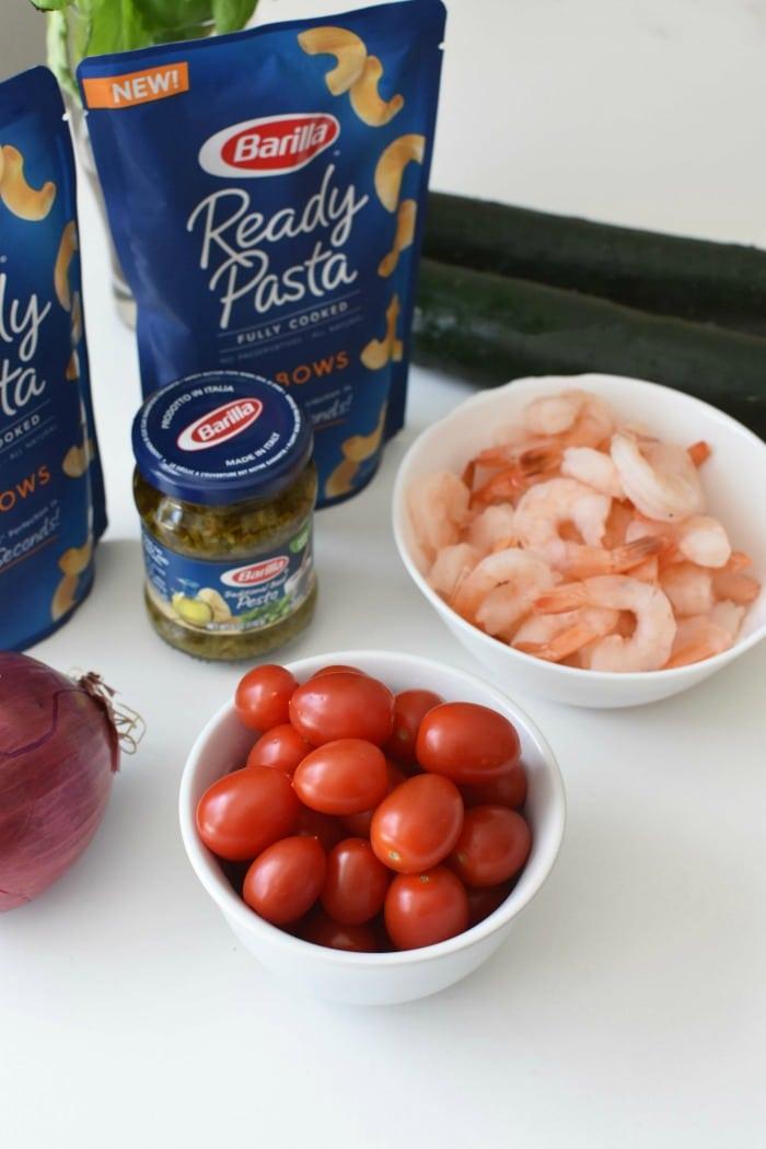 Shrimp pasta salad with feta 1
