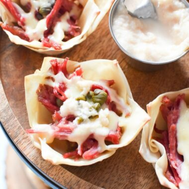 Swiss and Corned Beef Wonton with Horseradish