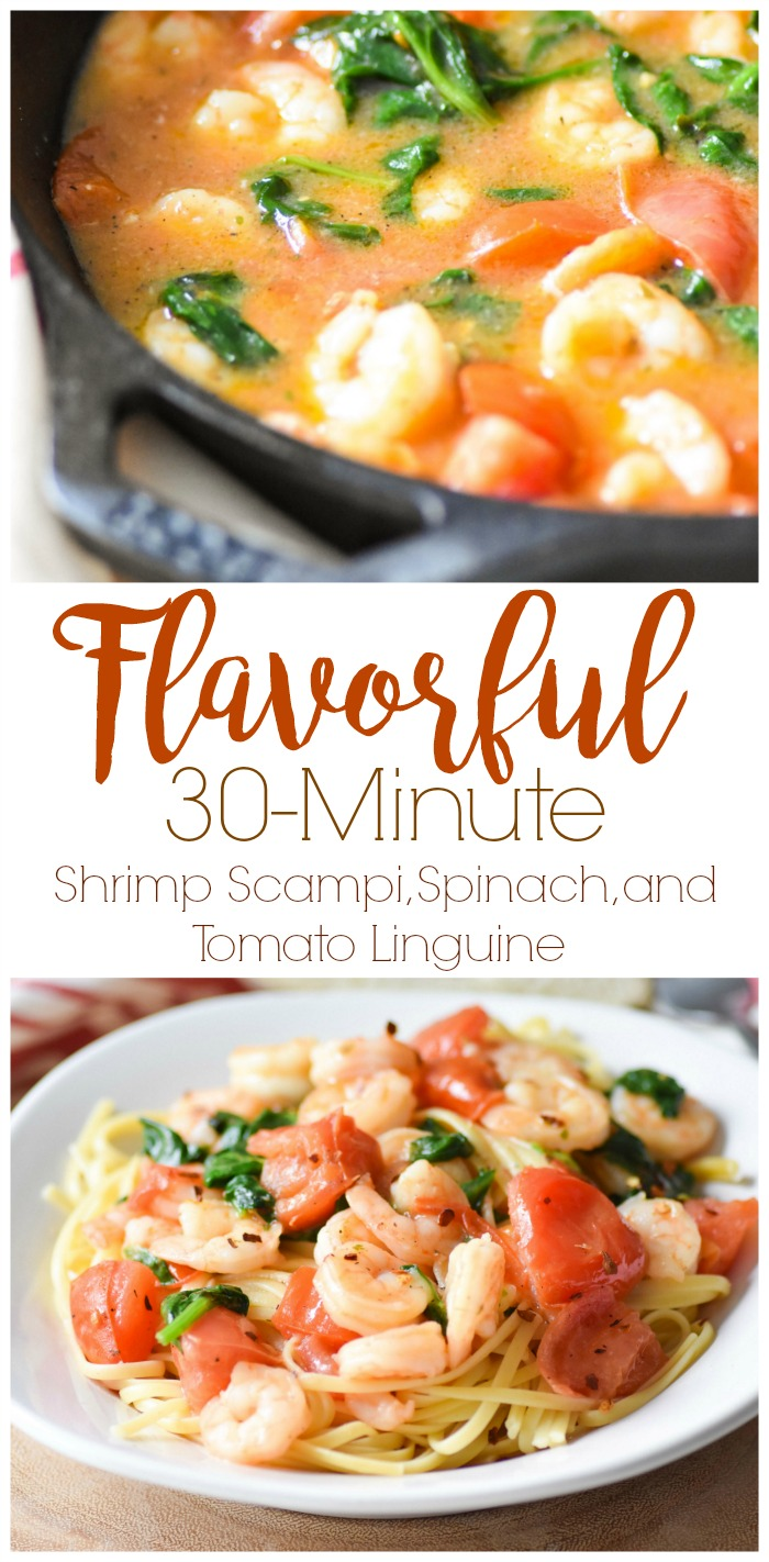 Flavorful 30 Minute Shrimp Scampi, Spinach, and Tomato Linguine
