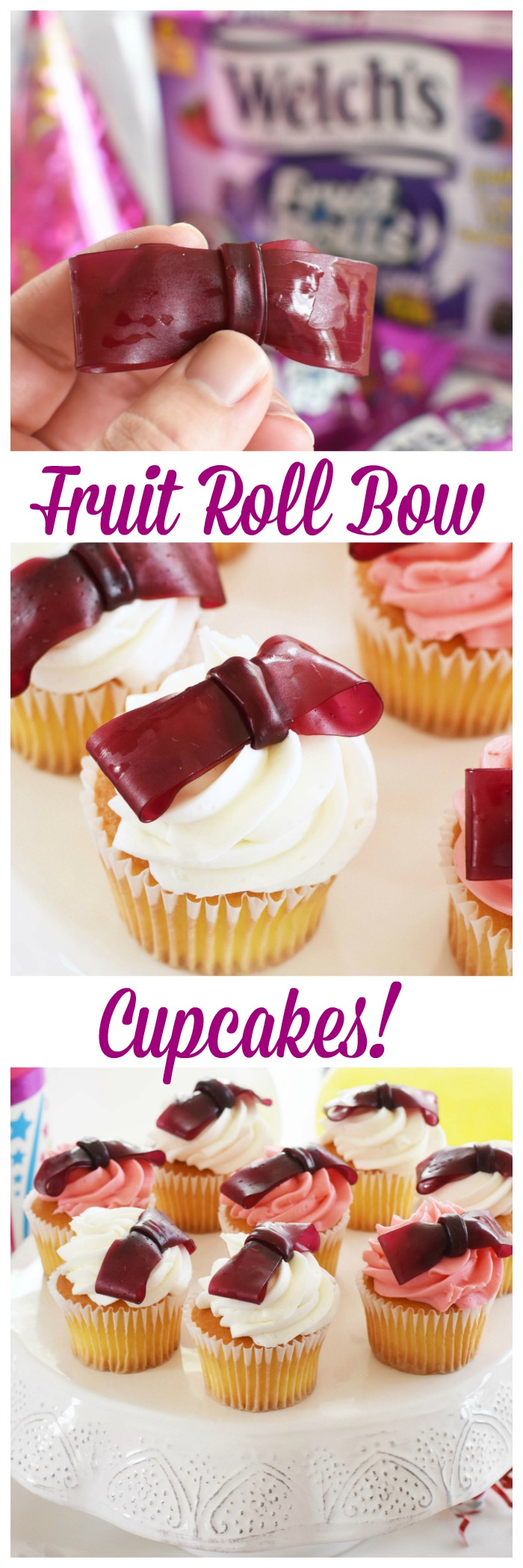 How to Jazz up Store-Bought Cupcakes with These Yummy & Easy Fruit Roll Bows- Looking for an adorable cupcake idea for a little girl's birthday party? These fruit roll bows are so easy and totally yummy! You can decorate store bought cupcakes and have an easy, peasy and super cute tray of cupcakes in less than 10 mins!