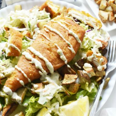 Fish and Chips Salad with Potato Croutons 1