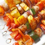 Grilled BBQ Chicken Sausage Kabobs with Pineapple and Veggies