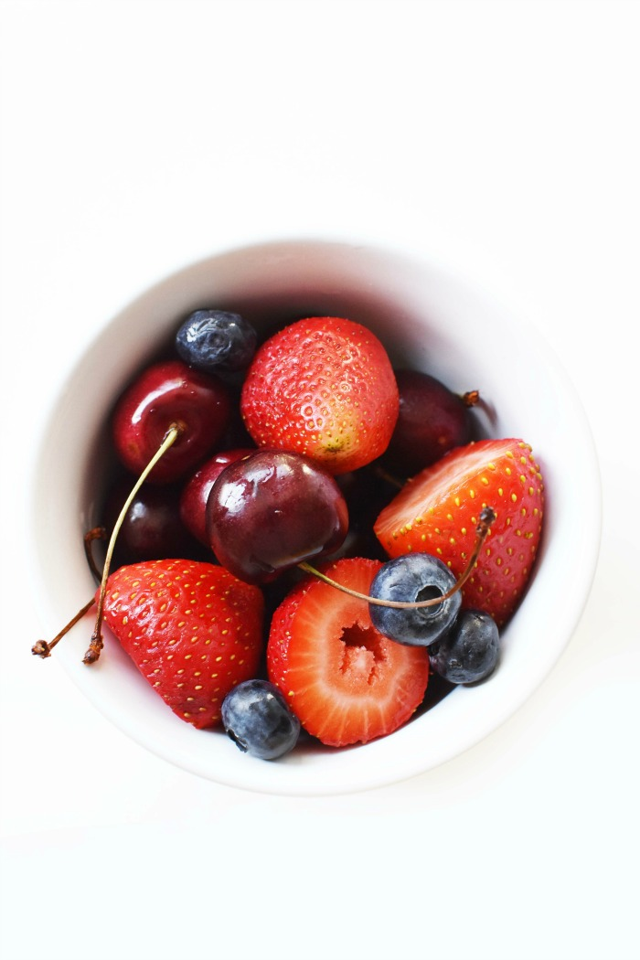 Berries and Cherries in a white bowl 1