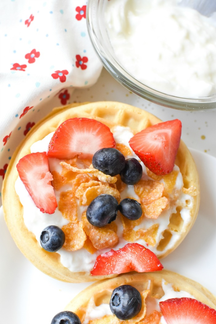 Berry, Yogurt and Cereal Topped Eggo Waffles