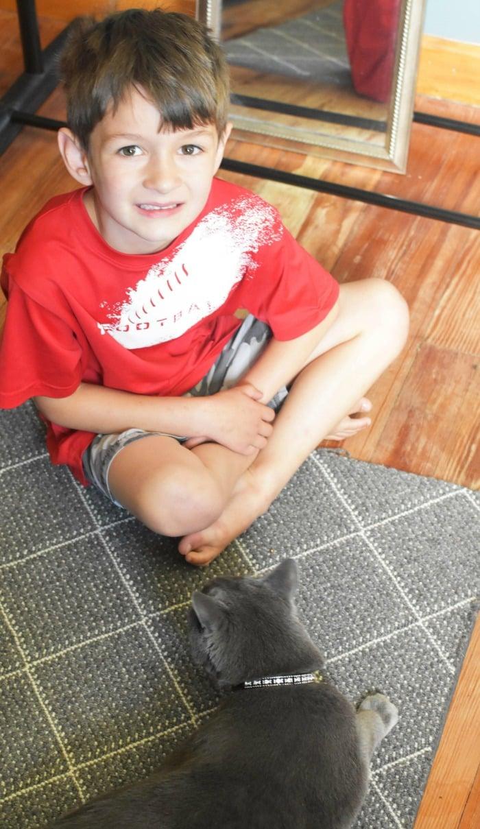 Boy with Grey Cat 1