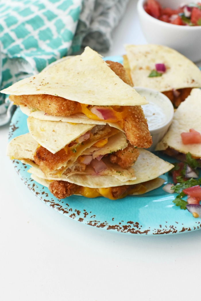Cheesy Fish Stick Quesadillas with Cilantro Lime Sauce 1