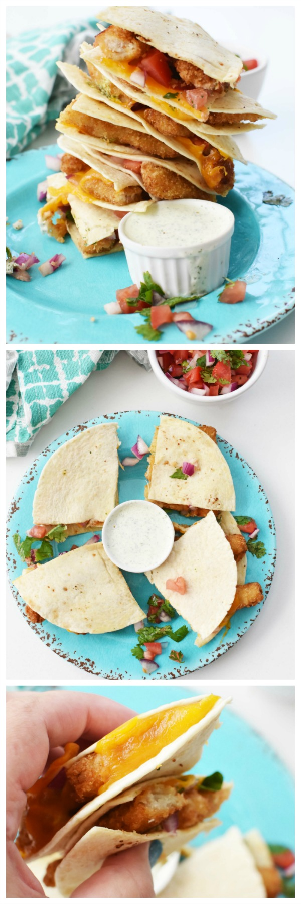 Cheesy Fish Quesadillas with Salsa Cilantro Lime Sauce- An easy to make lunch or dinner featuring flour tortillas stuffed with crunchy fish sticks enveloped in melted cheddar, fresh salsa, and a cilantro lime sauce.