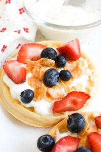 Easy 5-Minute Berries, Yogurt, & Cereal Topped Waffles