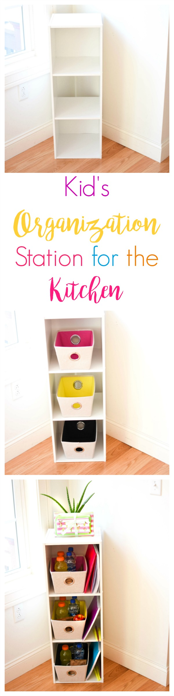 DIY Kitchen Organization Station For Kids- Every house needs an organizational station in the kitchen. Add your child's snacks, homework, or place important things for the next day on each level!