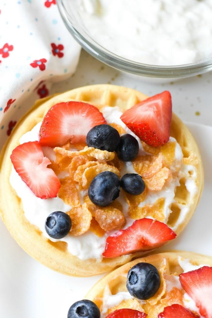 Yogurt and Fruit Topped Waffle