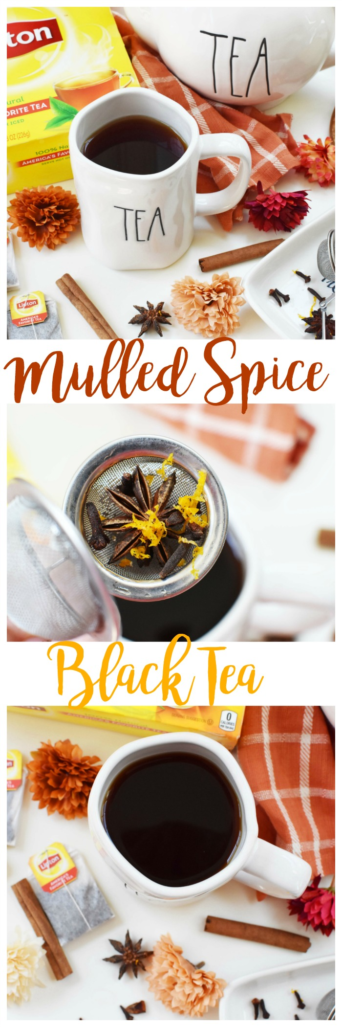 Perfect for Fall- Mulled Spice Black Hot Tea. A warm, and spicy fall tea drink that is low in calories but high in flavor. Make this mulled tea recipe for one of 4! Recipe includes directions for both!