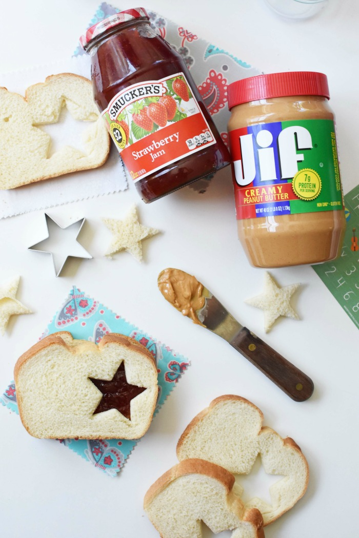 Star Peanut Butter and Jelly Sandwich Cutout with a jar of jelly and jam.