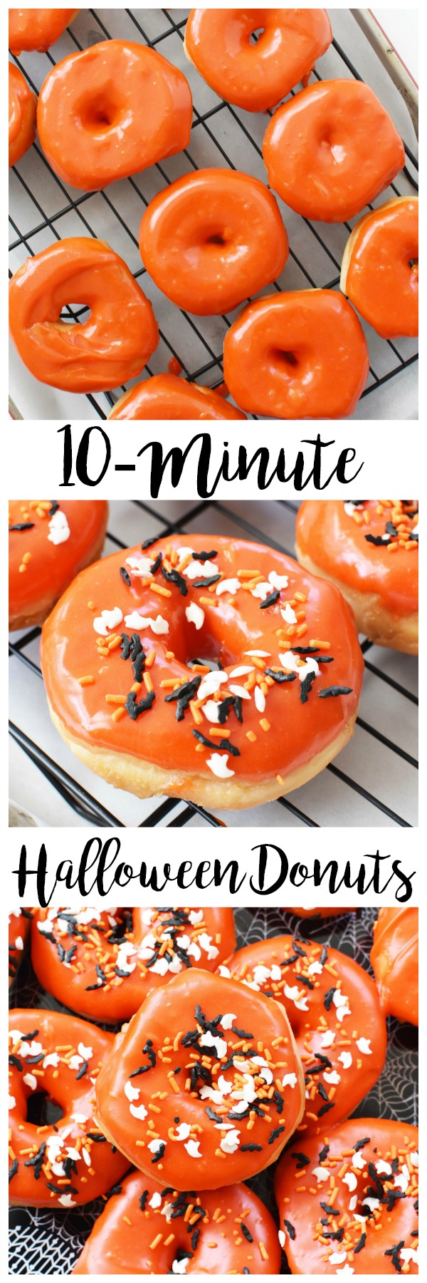 Easy Halloween Donuts You Can Make Today- Semi-Homemade Halloween Donuts that are sure to be the talk of the party because they require no fussing with dough! These are orange frosted and ready in less time than you think!