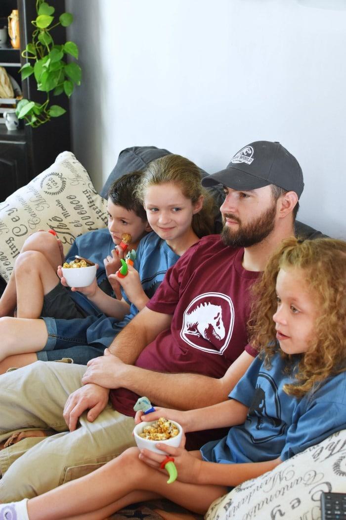 Family Watching Jurassic World 1