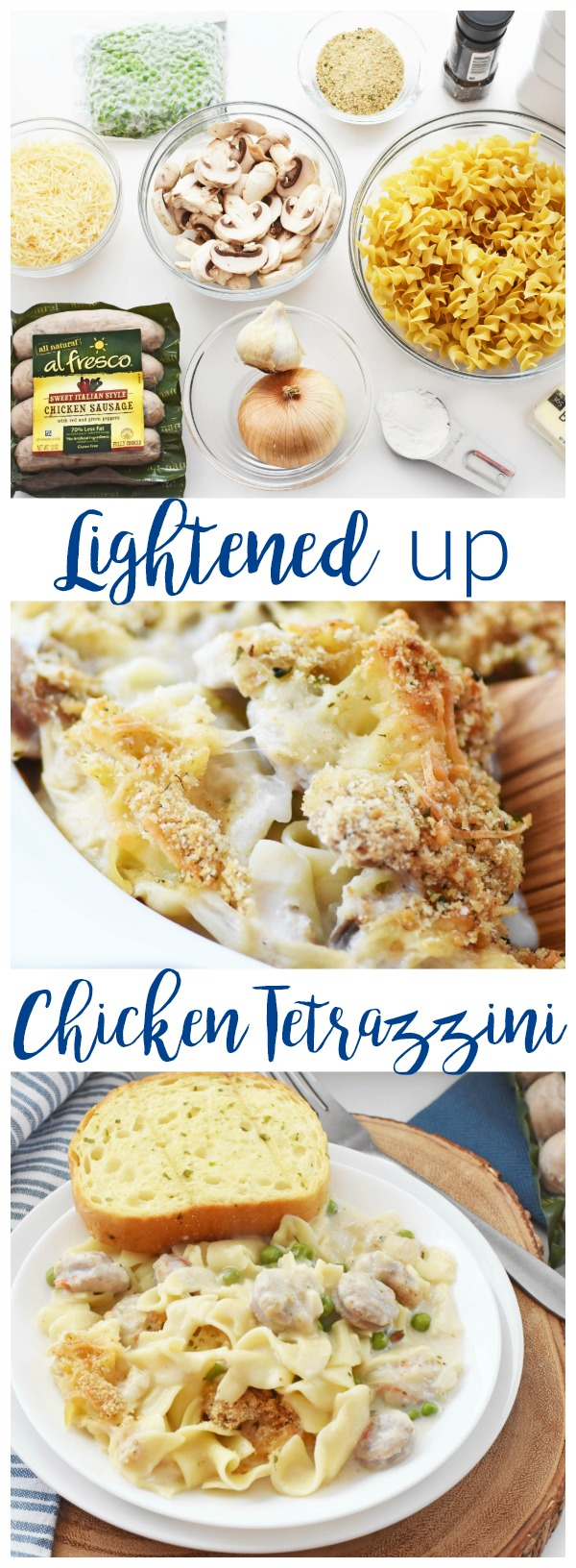 Easy Chicken Tetrazzini Recipe-Made with Egg Noodles & Sweet Italian Style al fresco Chicken Sausage. A lightened up version of a classic comfort food. This Chicken Tetrazzini features egg noodles, sweet Italian style chicken sausage, and a lighter cheese! This recipe contain no sherry